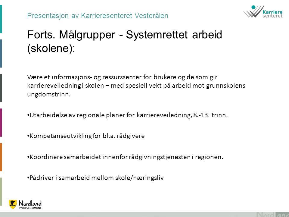 Presentasjon av Karrieresenteret Vesterålen Forts. Målgrupper - Systemrettet arbeid (skolene): Være et informasjons- og ressurssenter for brukere og d