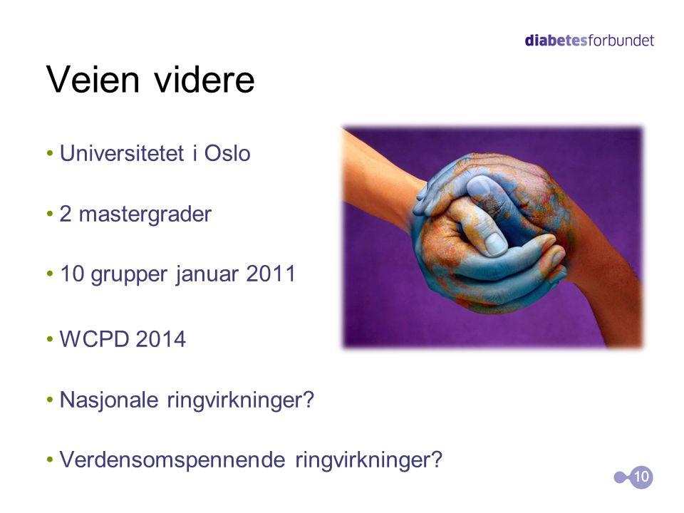 Veien videre •Universitetet i Oslo •2 mastergrader •10 grupper januar 2011 •WCPD 2014 •Nasjonale ringvirkninger? •Verdensomspennende ringvirkninger? 1