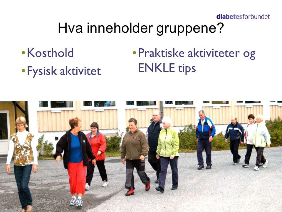 Hva inneholder gruppene? •Kosthold •Fysisk aktivitet •Praktiske aktiviteter og ENKLE tips
