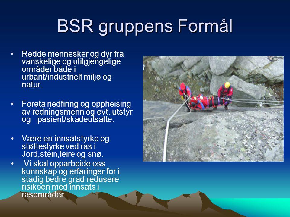 BSR gruppens Formål •Redde mennesker og dyr fra vanskelige og utilgjengelige områder både i urbant/industrielt miljø og natur.