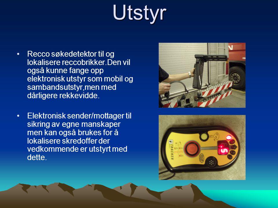 Utstyr •Recco søkedetektor til og lokalisere reccobrikker.Den vil også kunne fange opp elektronisk utstyr som mobil og sambandsutstyr,men med dårligere rekkevidde.