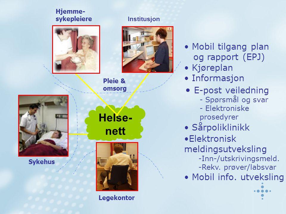 Sykehus Legekontor • Mobil tilgang plan og rapport (EPJ) • Kjøreplan • Informasjon • E-post veiledning - Spørsmål og svar - Elektroniske prosedyrer •E