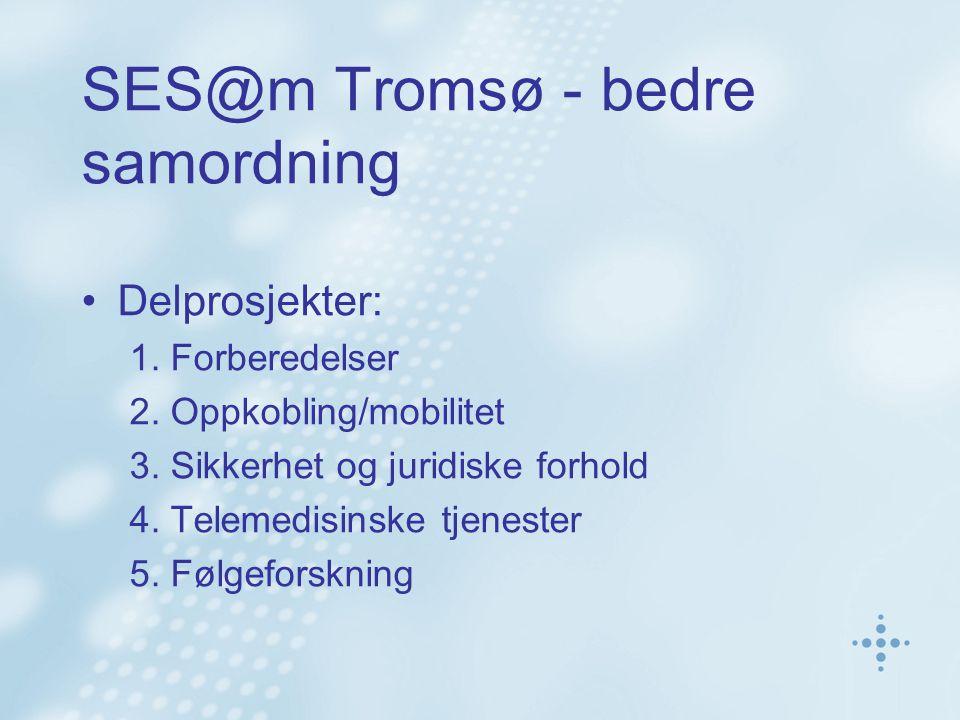 SES@m Tromsø - bedre samordning •Delprosjekter: 1. Forberedelser 2. Oppkobling/mobilitet 3. Sikkerhet og juridiske forhold 4. Telemedisinske tjenester
