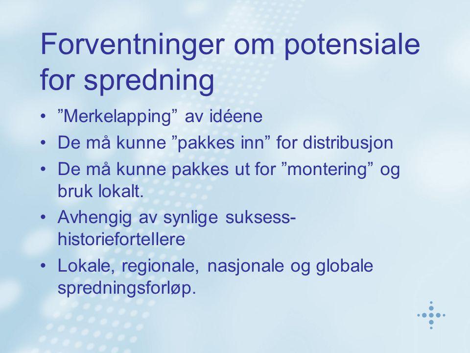 """Forventninger om potensiale for spredning •""""Merkelapping"""" av idéene •De må kunne """"pakkes inn"""" for distribusjon •De må kunne pakkes ut for """"montering"""""""