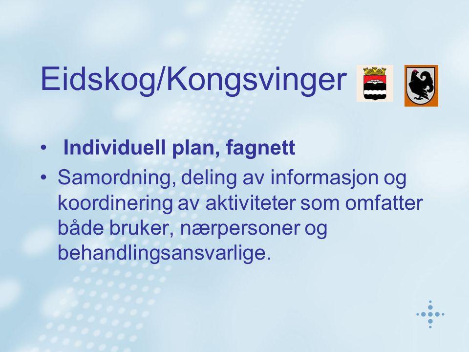 Eidskog/Kongsvinger • Individuell plan, fagnett •Samordning, deling av informasjon og koordinering av aktiviteter som omfatter både bruker, nærpersone
