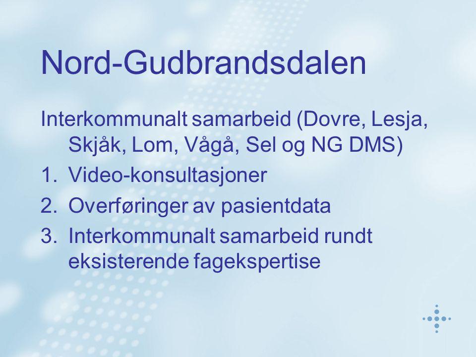 Nord-Gudbrandsdalen Interkommunalt samarbeid (Dovre, Lesja, Skjåk, Lom, Vågå, Sel og NG DMS) 1.Video-konsultasjoner 2.Overføringer av pasientdata 3.In