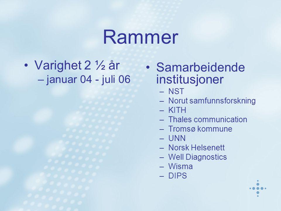Rammer •Varighet 2 ½ år –januar 04 - juli 06 •Samarbeidende institusjoner –NST –Norut samfunnsforskning –KITH –Thales communication –Tromsø kommune –U