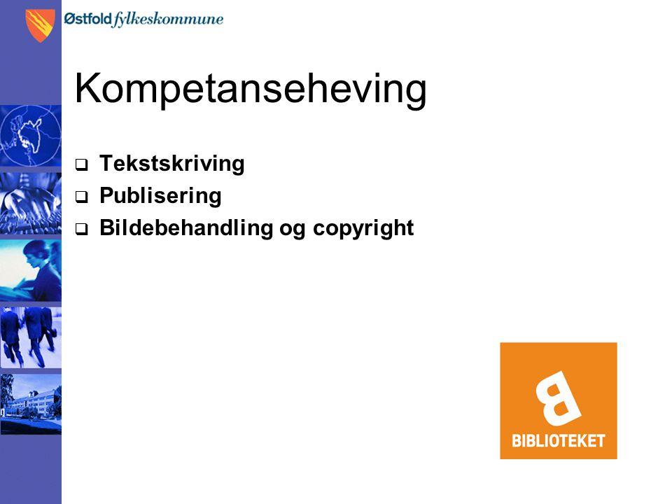 Kompetanseheving  Tekstskriving  Publisering  Bildebehandling og copyright