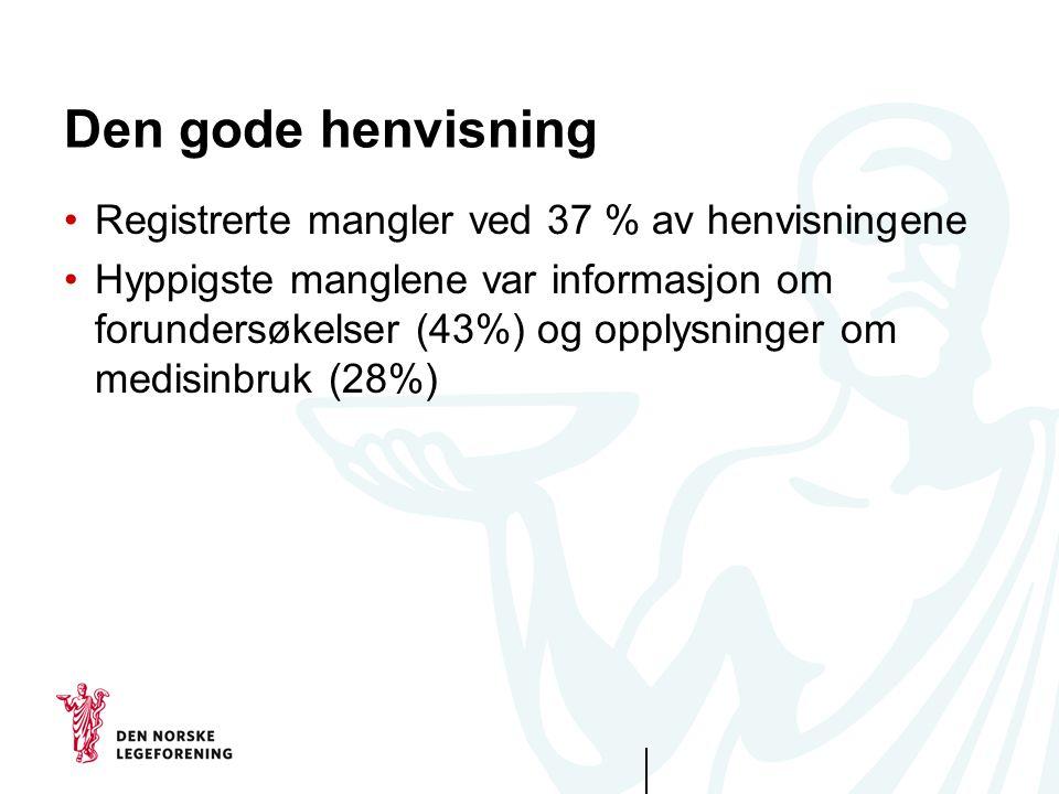 Den gode henvisning •Registrerte mangler ved 37 % av henvisningene •Hyppigste manglene var informasjon om forundersøkelser (43%) og opplysninger om me