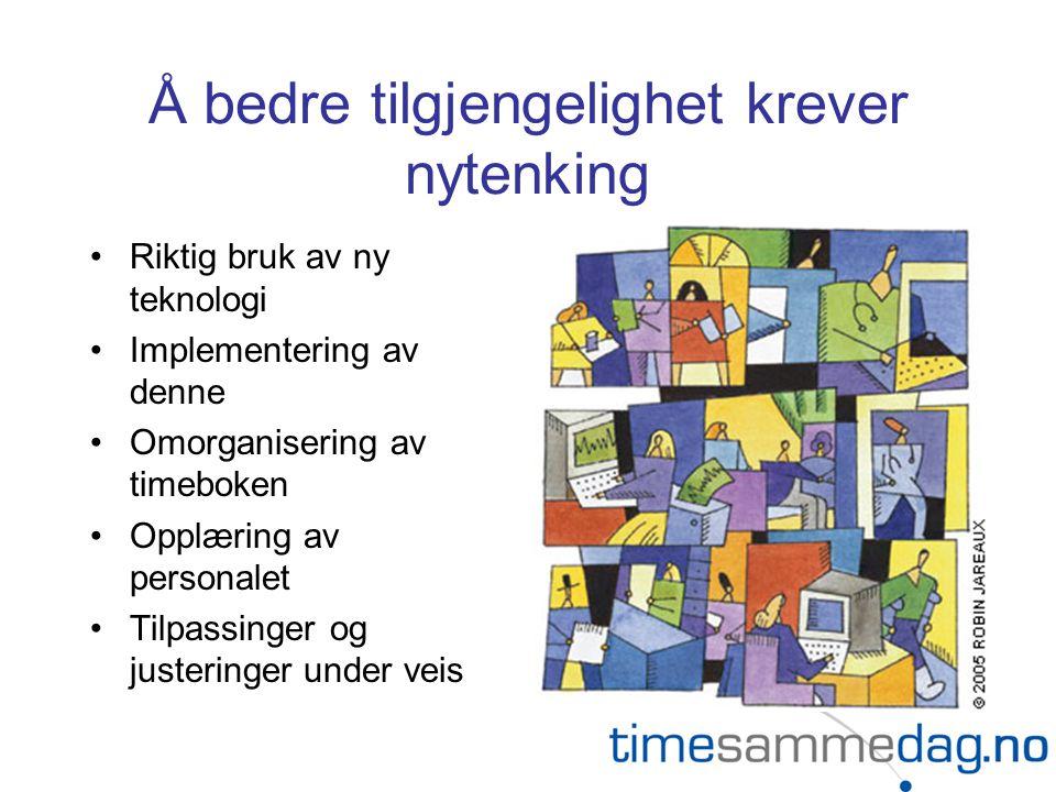 Å bedre tilgjengelighet krever nytenking •Riktig bruk av ny teknologi •Implementering av denne •Omorganisering av timeboken •Opplæring av personalet •Tilpassinger og justeringer under veis