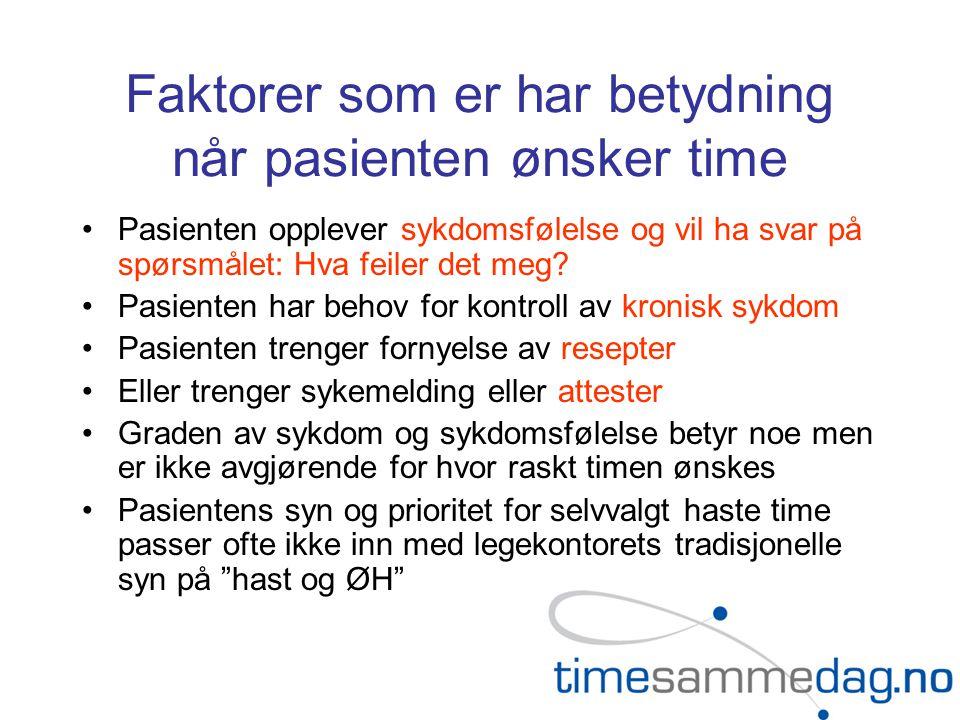 Faktorer som er har betydning når pasienten ønsker time •Pasienten opplever sykdomsfølelse og vil ha svar på spørsmålet: Hva feiler det meg.