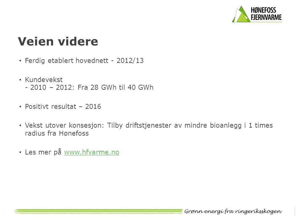 Veien videre • Ferdig etablert hovednett - 2012/13 • Kundevekst - 2010 – 2012: Fra 28 GWh til 40 GWh • Positivt resultat – 2016 • Vekst utover konsesj