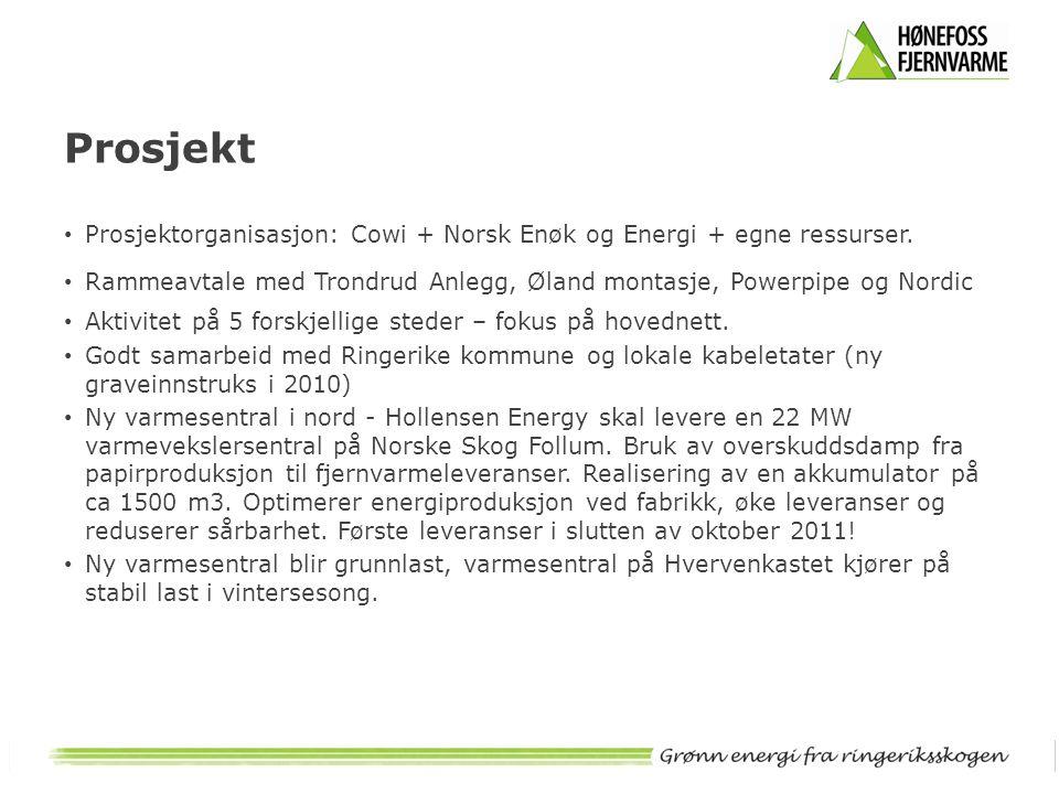 Prosjekt • Prosjektorganisasjon: Cowi + Norsk Enøk og Energi + egne ressurser. • Rammeavtale med Trondrud Anlegg, Øland montasje, Powerpipe og Nordic