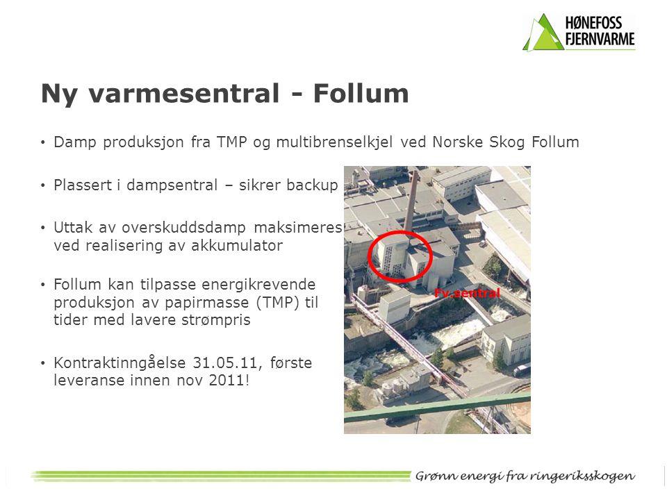 Ny varmesentral - Follum • Damp produksjon fra TMP og multibrenselkjel ved Norske Skog Follum • Plassert i dampsentral – sikrer backup • Uttak av over