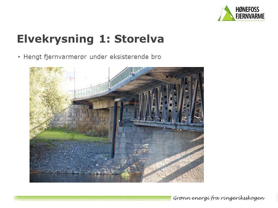 • Hengt fjernvarmerør under eksisterende bro Elvekrysning 1: Storelva