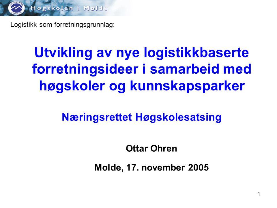 1 Utvikling av nye logistikkbaserte forretningsideer i samarbeid med høgskoler og kunnskapsparker Næringsrettet Høgskolesatsing Ottar Ohren Molde, 17.