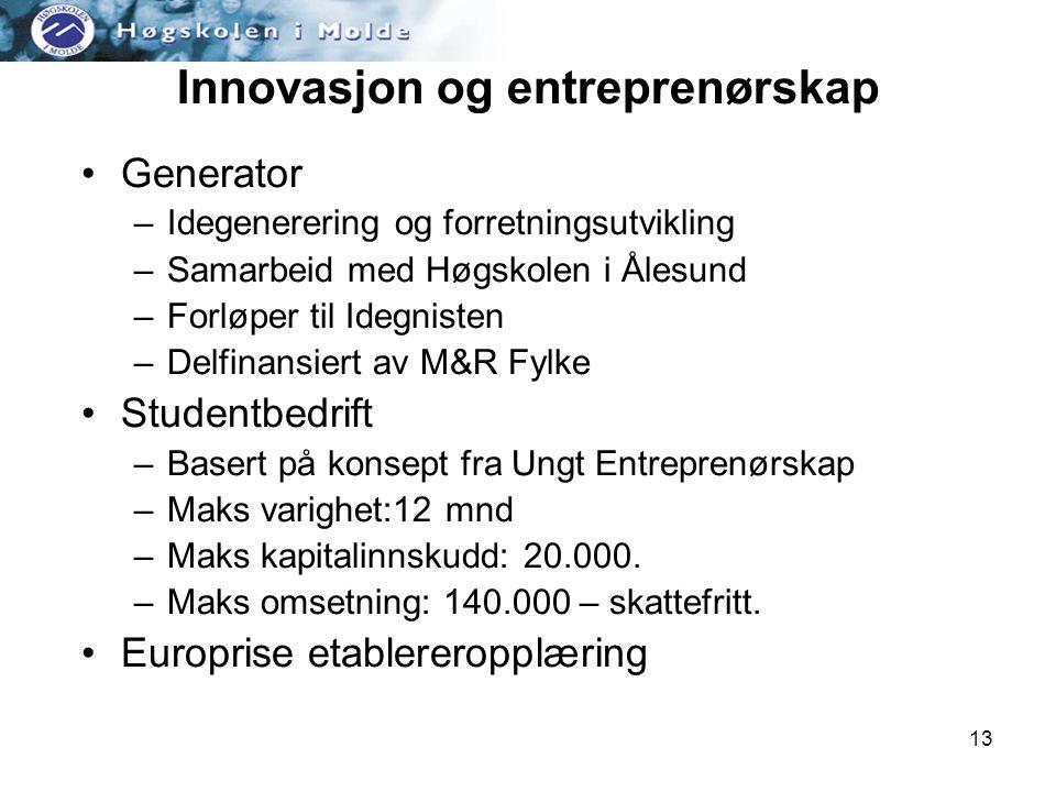 13 Innovasjon og entreprenørskap •Generator –Idegenerering og forretningsutvikling –Samarbeid med Høgskolen i Ålesund –Forløper til Idegnisten –Delfinansiert av M&R Fylke •Studentbedrift –Basert på konsept fra Ungt Entreprenørskap –Maks varighet:12 mnd –Maks kapitalinnskudd: 20.000.