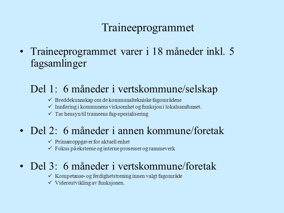 Traineeprogrammet •Traineeprogrammet varer i 18 måneder inkl. 5 fagsamlinger Del 1: 6 måneder i vertskommune/selskap  Breddekunnskap om de kommunalte