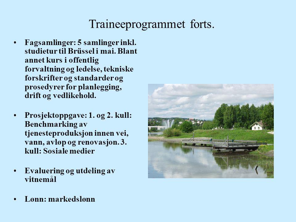 Traineeprogrammet forts. •Fagsamlinger: 5 samlinger inkl. studietur til Brüssel i mai. Blant annet kurs i offentlig forvaltning og ledelse, tekniske f