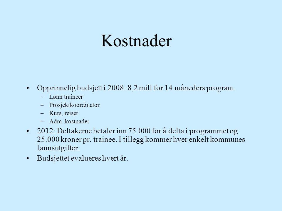 Kostnader •Opprinnelig budsjett i 2008: 8,2 mill for 14 måneders program. –Lønn traineer –Prosjektkoordinator –Kurs, reiser –Adm. kostnader •2012: Del