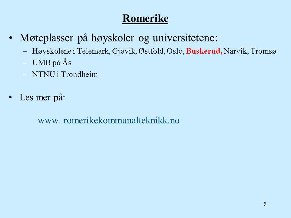 Romerike •Møteplasser på høyskoler og universitetene: –Høyskolene i Telemark, Gjøvik, Østfold, Oslo, Buskerud, Narvik, Tromsø –UMB på Ås –NTNU i Trond