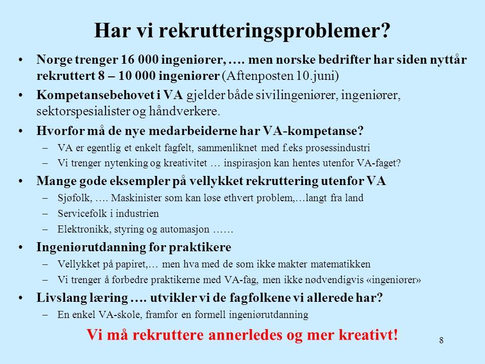 Har vi rekrutteringsproblemer? •Norge trenger 16 000 ingeniører, …. men norske bedrifter har siden nyttår rekruttert 8 – 10 000 ingeniører (Aftenposte