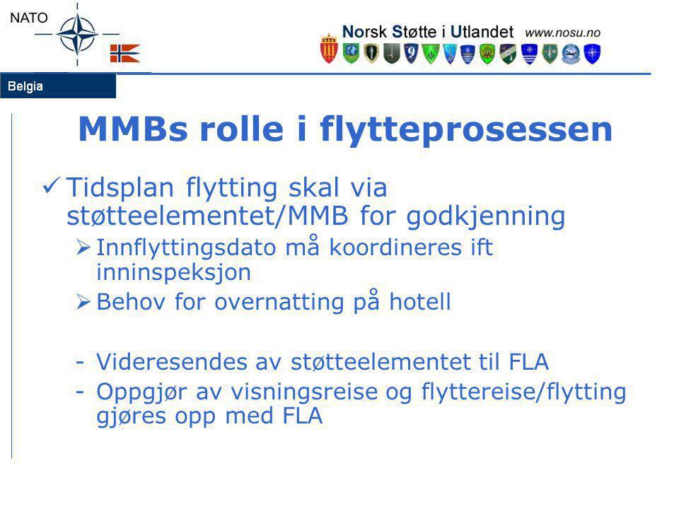 MMBs rolle i flytteprosessen  Tidsplan flytting skal via støtteelementet/MMB for godkjenning  Innflyttingsdato må koordineres ift inninspeksjon  Be