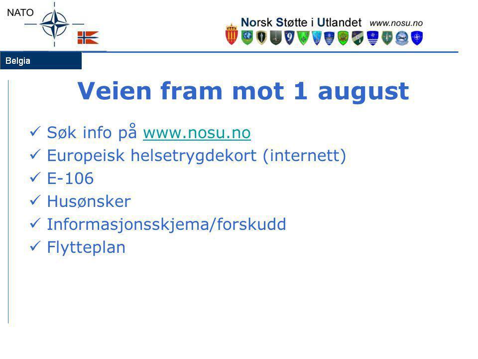 Veien fram mot 1 august  Søk info på www.nosu.nowww.nosu.no  Europeisk helsetrygdekort (internett)  E-106  Husønsker  Informasjonsskjema/forskudd