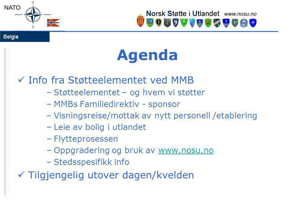 Agenda  Info fra Støtteelementet ved MMB –Støtteelementet – og hvem vi støtter –MMBs Familiedirektiv - sponsor –Visningsreise/mottak av nytt personel
