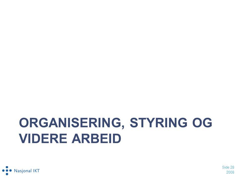 ORGANISERING, STYRING OG VIDERE ARBEID 2008 Side 28