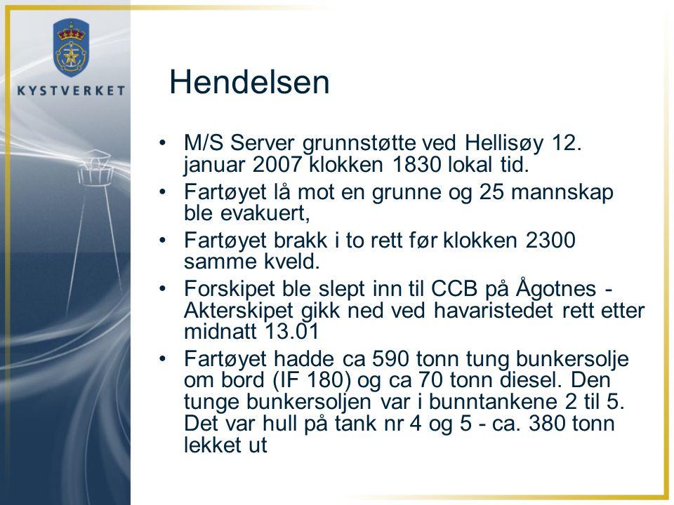 Hendelsen •M/S Server grunnstøtte ved Hellisøy 12. januar 2007 klokken 1830 lokal tid. •Fartøyet lå mot en grunne og 25 mannskap ble evakuert, •Fartøy