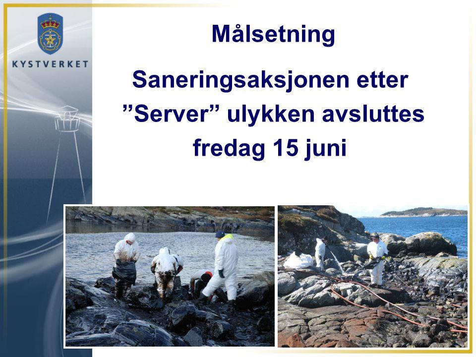 """Målsetning Saneringsaksjonen etter """"Server"""" ulykken avsluttes fredag 15 juni"""