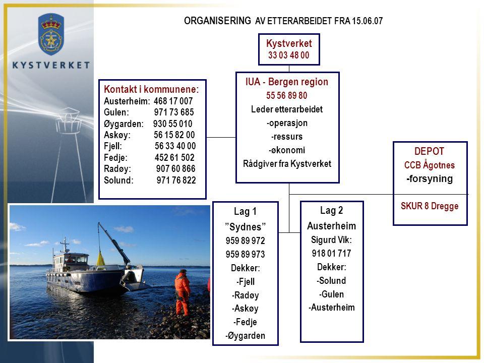 IUA - Bergen region 55 56 89 80 Leder etterarbeidet -operasjon -ressurs -økonomi Rådgiver fra Kystverket DEPOT CCB Ågotnes -forsyning SKUR 8 Dregge La