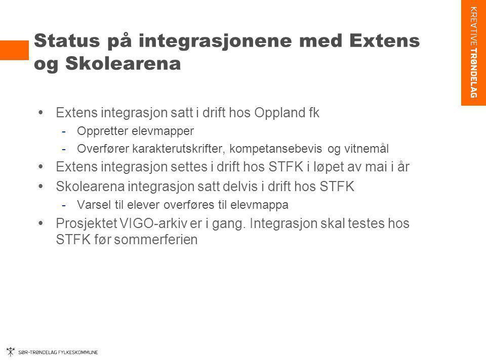 Status på integrasjonene med Extens og Skolearena  Extens integrasjon satt i drift hos Oppland fk -Oppretter elevmapper -Overfører karakterutskrifter