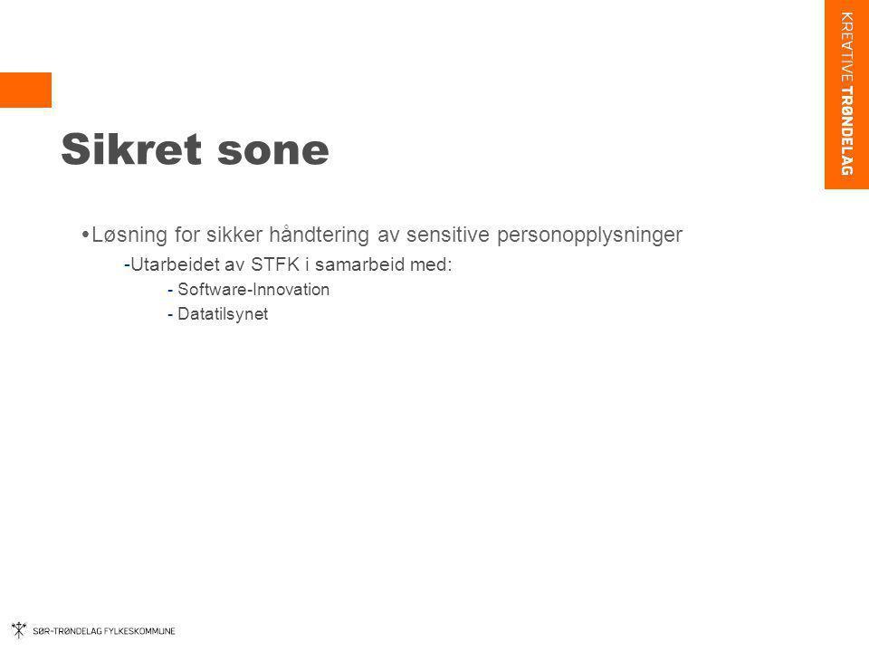 Sikret sone  Løsning for sikker håndtering av sensitive personopplysninger -Utarbeidet av STFK i samarbeid med: - Software-Innovation - Datatilsynet