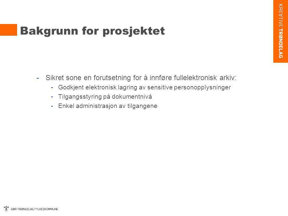 Bakgrunn for prosjektet -Sikret sone en forutsetning for å innføre fullelektronisk arkiv: -Godkjent elektronisk lagring av sensitive personopplysninge