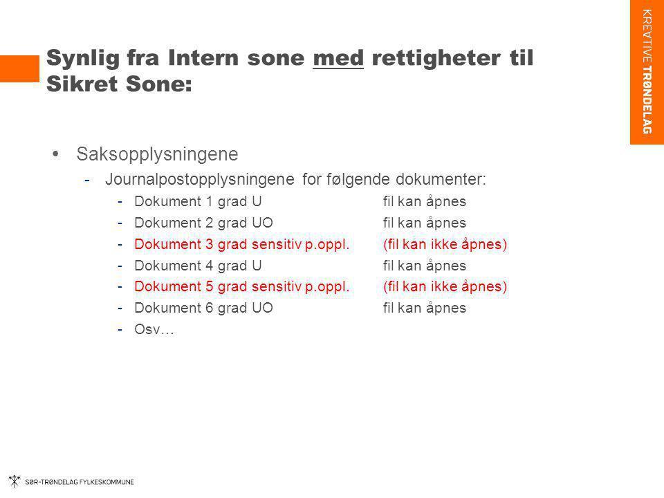 Synlig fra Intern sone med rettigheter til Sikret Sone:  Saksopplysningene -Journalpostopplysningene for følgende dokumenter: -Dokument 1 grad U fil