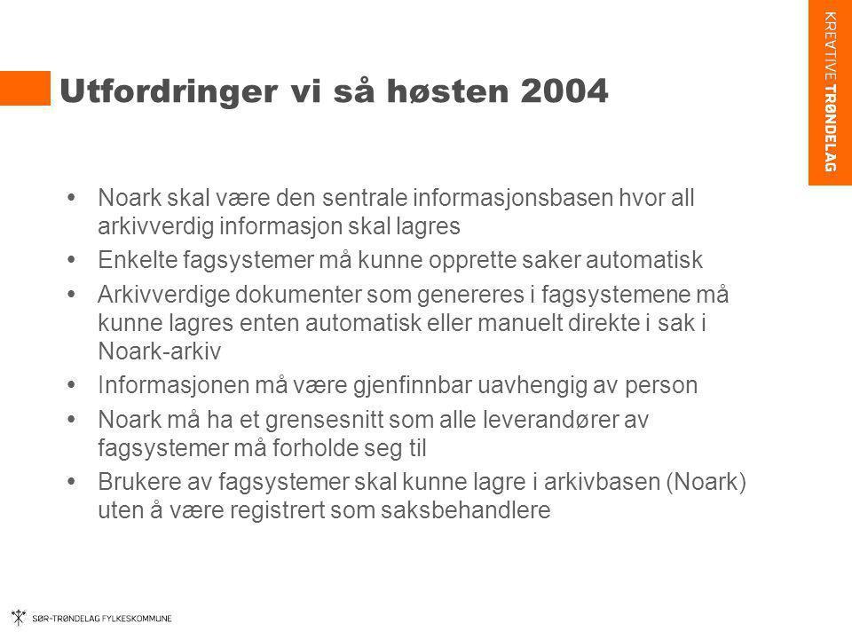 Utfordringer vi så høsten 2004  Noark skal være den sentrale informasjonsbasen hvor all arkivverdig informasjon skal lagres  Enkelte fagsystemer må
