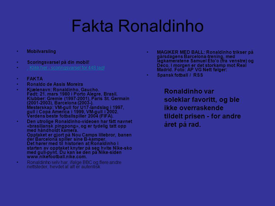 Fakta Ronaldinho •Mobilvarsling •Scoringsvarsel på din mobil! • Klikk her - scoringsvarsel for 448 lag! Klikk her - scoringsvarsel for 448 lag! •FAKTA