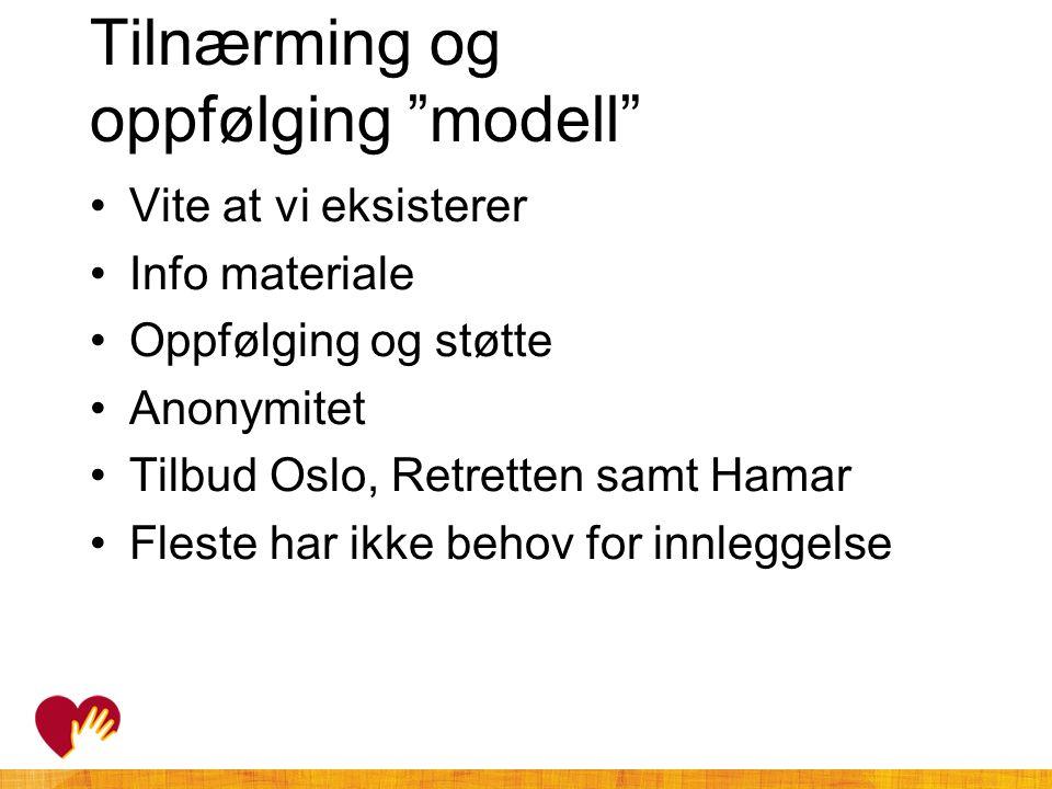 """Tilnærming og oppfølging """"modell"""" •Vite at vi eksisterer •Info materiale •Oppfølging og støtte •Anonymitet •Tilbud Oslo, Retretten samt Hamar •Fleste"""