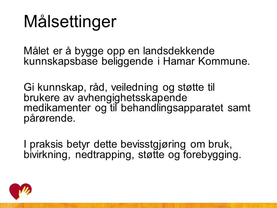 Målsettinger Målet er å bygge opp en landsdekkende kunnskapsbase beliggende i Hamar Kommune. Gi kunnskap, råd, veiledning og støtte til brukere av avh