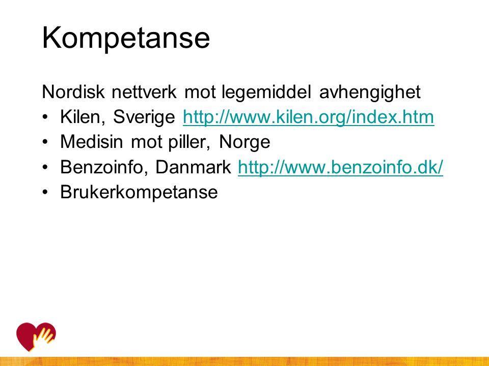 Kompetanse Nordisk nettverk mot legemiddel avhengighet •Kilen, Sverige http://www.kilen.org/index.htmhttp://www.kilen.org/index.htm •Medisin mot pille