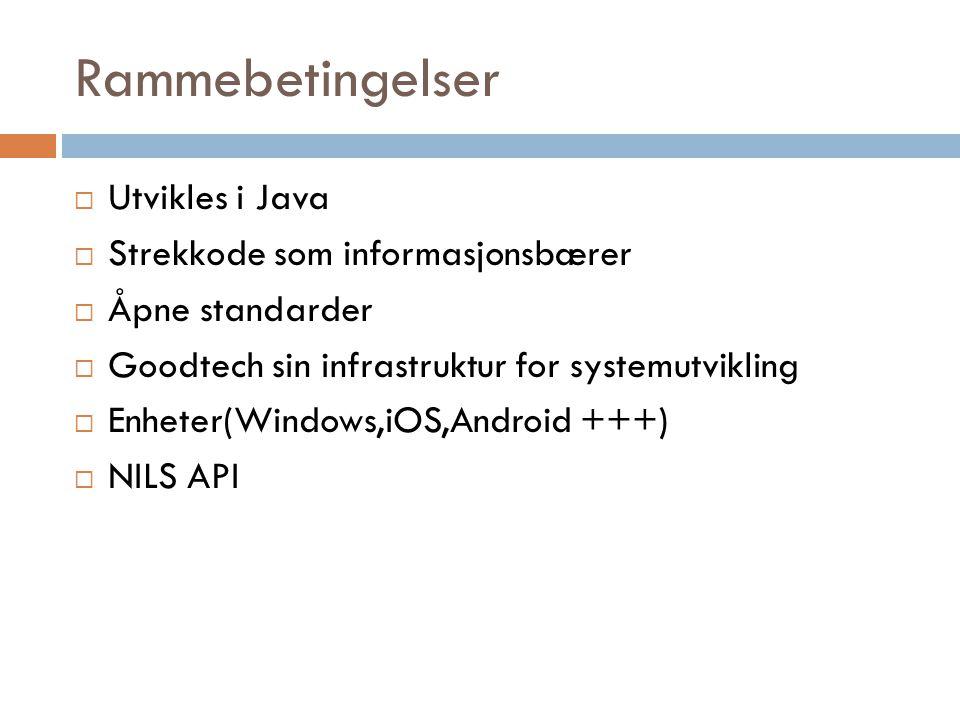 Rammebetingelser  Utvikles i Java  Strekkode som informasjonsbærer  Åpne standarder  Goodtech sin infrastruktur for systemutvikling  Enheter(Wind