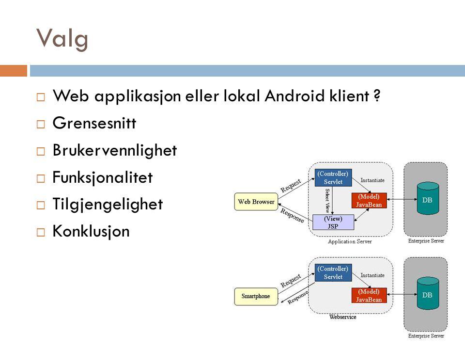 Valg  Web applikasjon eller lokal Android klient ?  Grensesnitt  Brukervennlighet  Funksjonalitet  Tilgjengelighet  Konklusjon