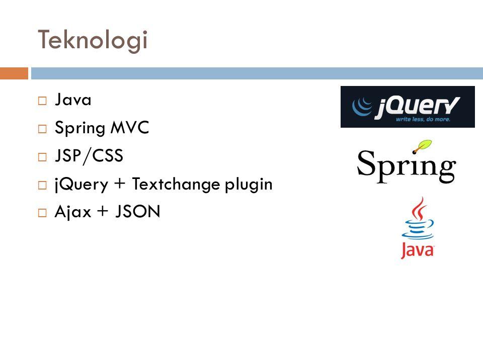 Teknologi  Java  Spring MVC  JSP/CSS  jQuery + Textchange plugin  Ajax + JSON