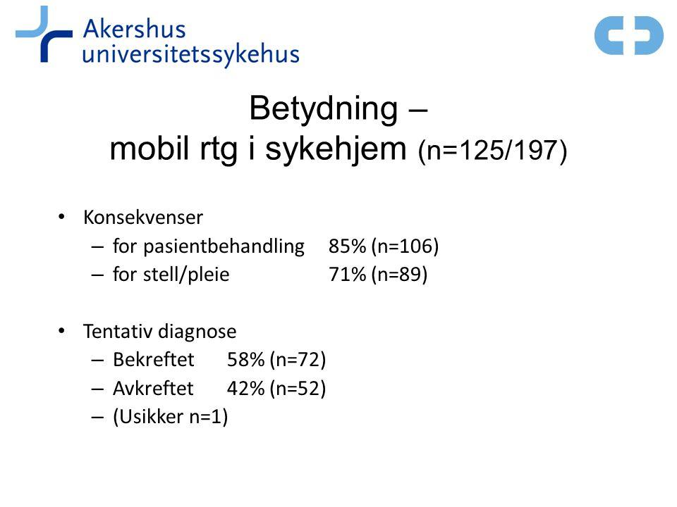 Betydning – mobil rtg i sykehjem (n=125/197) • Konsekvenser – for pasientbehandling 85% (n=106) – for stell/pleie71% (n=89) • Tentativ diagnose – Bekreftet 58% (n=72) – Avkreftet 42% (n=52) – (Usikker n=1)
