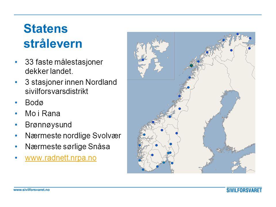 Statens strålevern •33 faste målestasjoner dekker landet. •3 stasjoner innen Nordland sivilforsvarsdistrikt •Bodø •Mo i Rana •Brønnøysund •Nærmeste no