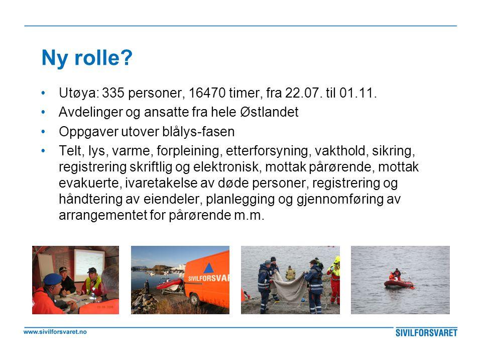 Ny rolle? •Utøya: 335 personer, 16470 timer, fra 22.07. til 01.11. •Avdelinger og ansatte fra hele Østlandet •Oppgaver utover blålys-fasen •Telt, lys,