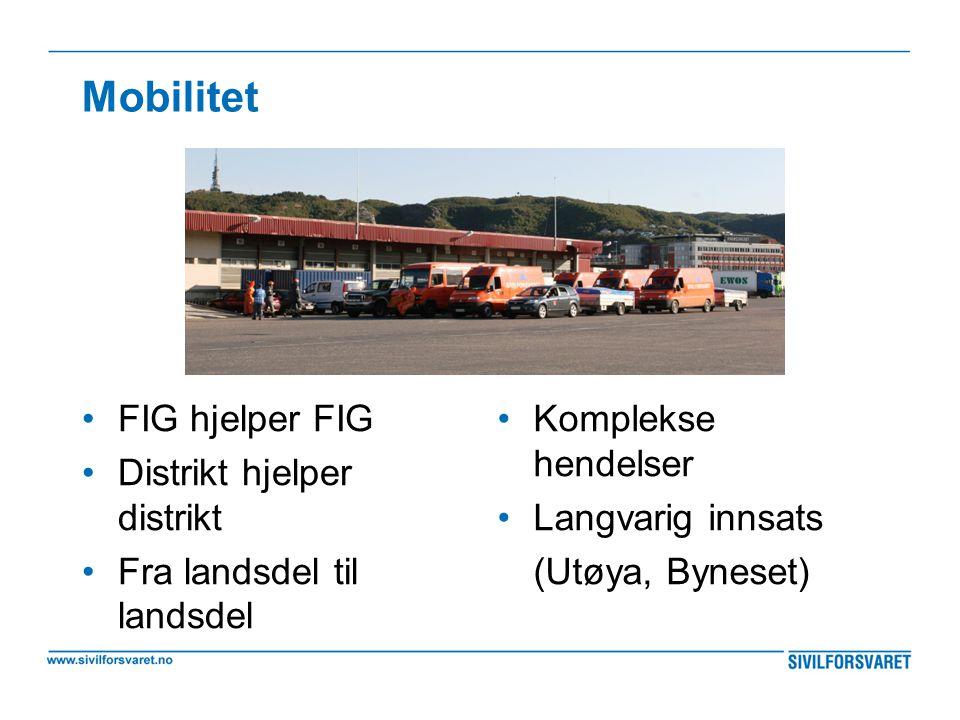 Mobilitet •FIG hjelper FIG •Distrikt hjelper distrikt •Fra landsdel til landsdel •Komplekse hendelser •Langvarig innsats (Utøya, Byneset)