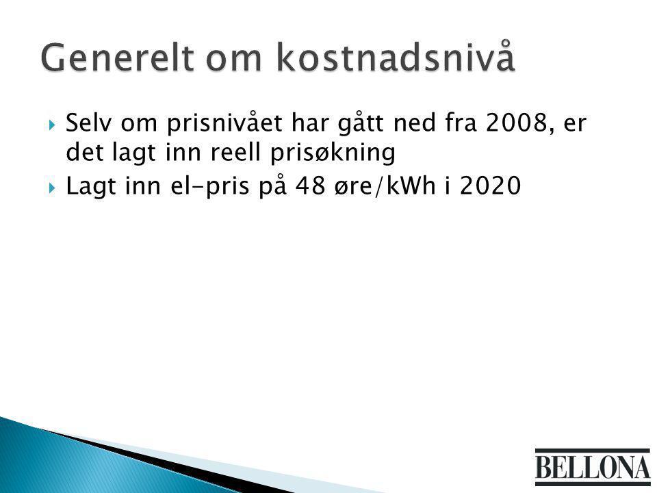  Selv om prisnivået har gått ned fra 2008, er det lagt inn reell prisøkning  Lagt inn el-pris på 48 øre/kWh i 2020